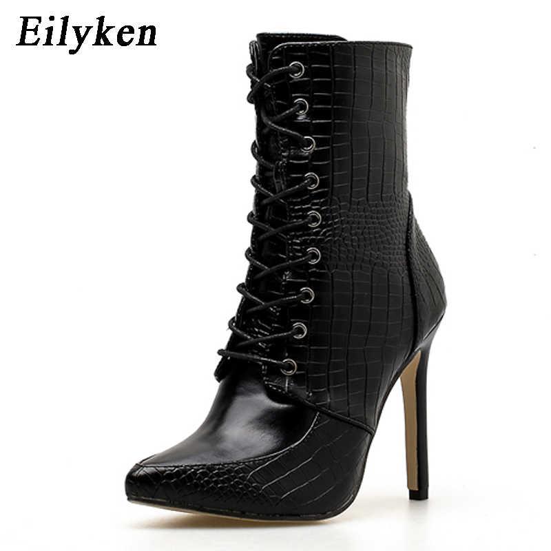 Eilyken serpantin siyah kadınlar için yarım çizmeler 2020 yeni dantel-up sivri burun Stilettos ayakkabı moda seksi Chelsea çizmeler boyutu 35 -42