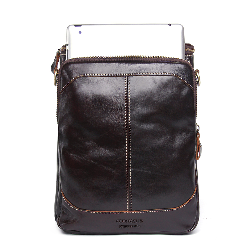 CONTACT'S Fashion Genuine Leather Shoulder Bag Men Crossbody Bags Small Over-the-shoulder Messenger Bags Luxury Male Travel Bag 3
