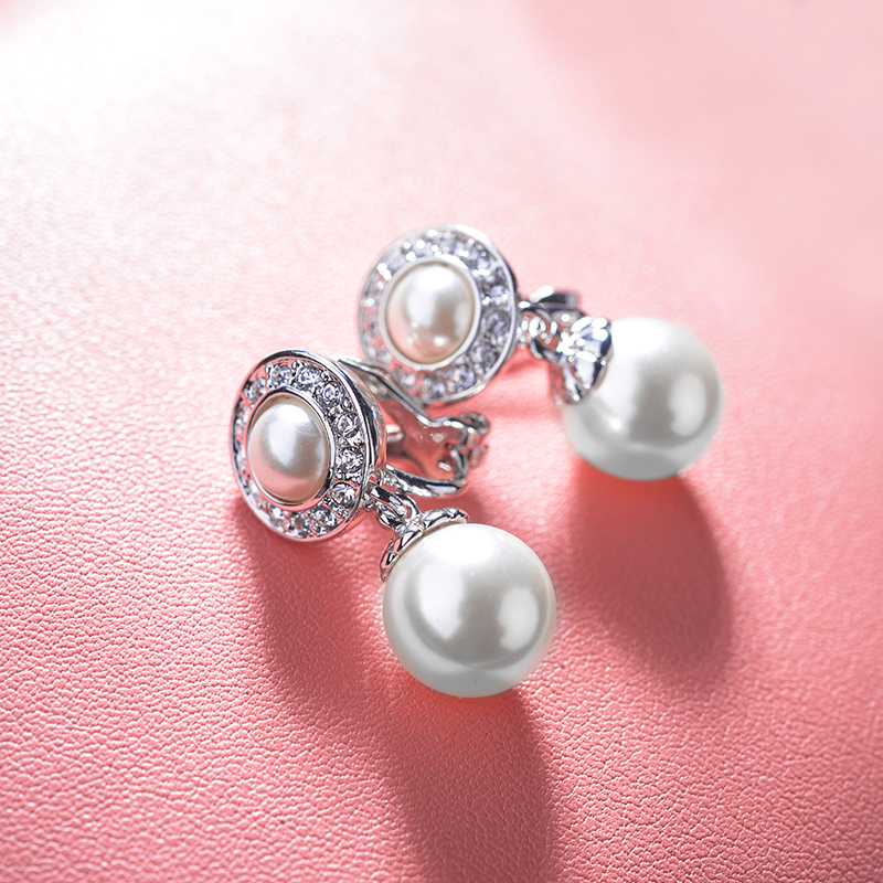 2018 New Trendy Cubic Zirconia Clip Earrings Without Piercing No Hole Pearl Earrings For ...