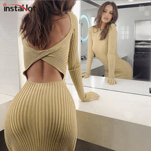 InstaHot Ribbed Knitted Knee-Length Dress Long Sleeve Backless Autumn Bodycon O-neck Solid Slim Fit Casual Party Women Dresses