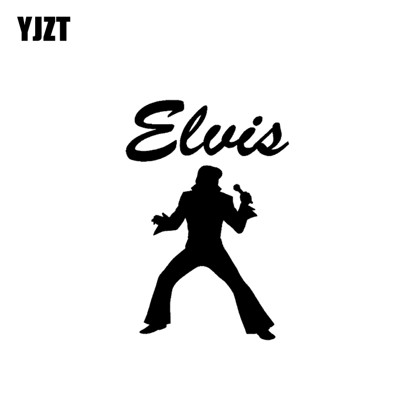 YJZT 8.9CM*12.9CM Elvis Presley Vinyl Car Sticker Funny Decal Black/Silver C3-0013