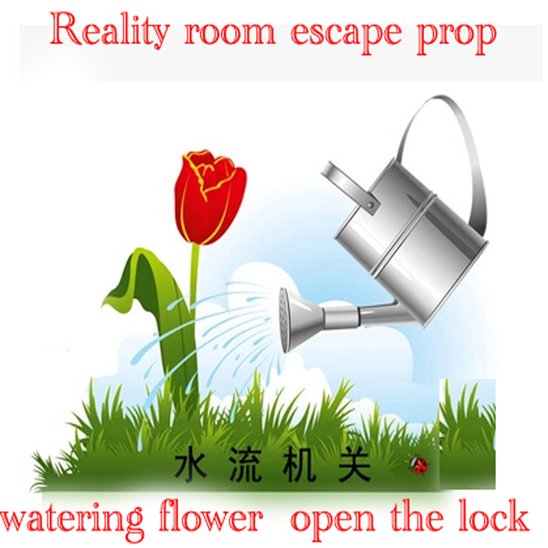 Reality Room Escape props, room game pour water props , watering Water flow trigger open lock can be open mysterious room augmented reality navigation