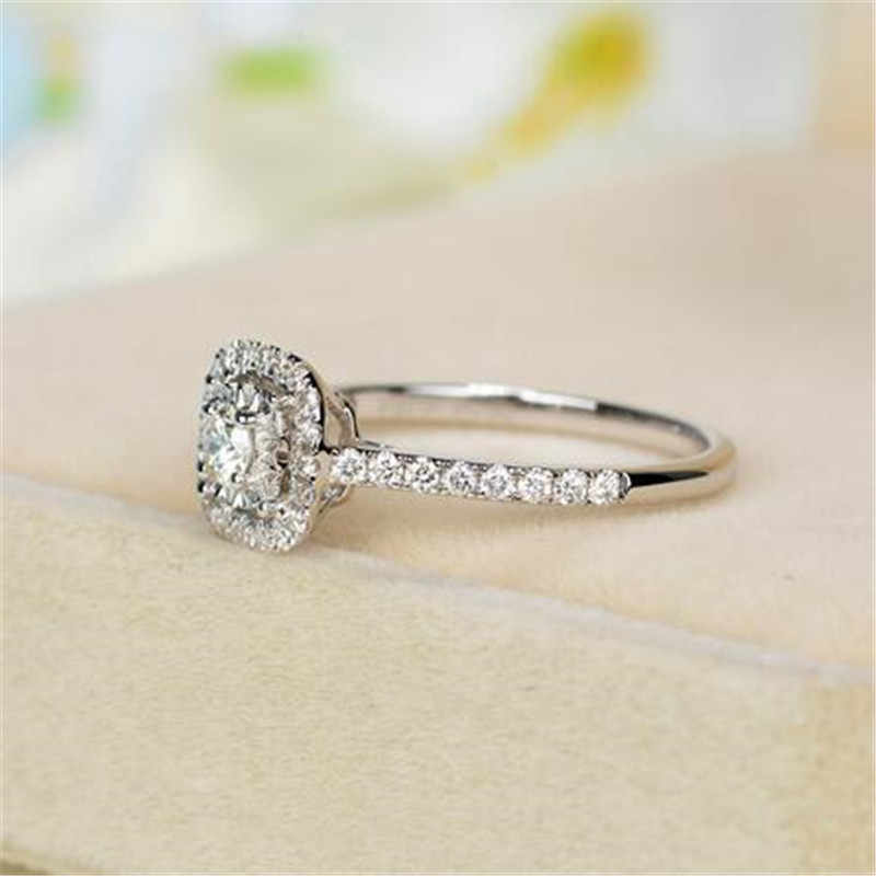 95% RABATT!!! großhandel 100% 925 Sterling Silber Ring Edlen Schmuck Mit S925 Stempel Inlay 1 Karat CZ Diamant Verlobungsring