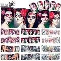 Tracy Simple Cráneo Sexy Patrones de Transferencia de Agua de Uñas 1 Hoja Nail Art Tickers de Diseños de Halloween Color de La Cubierta Completa Consejos BN181-192