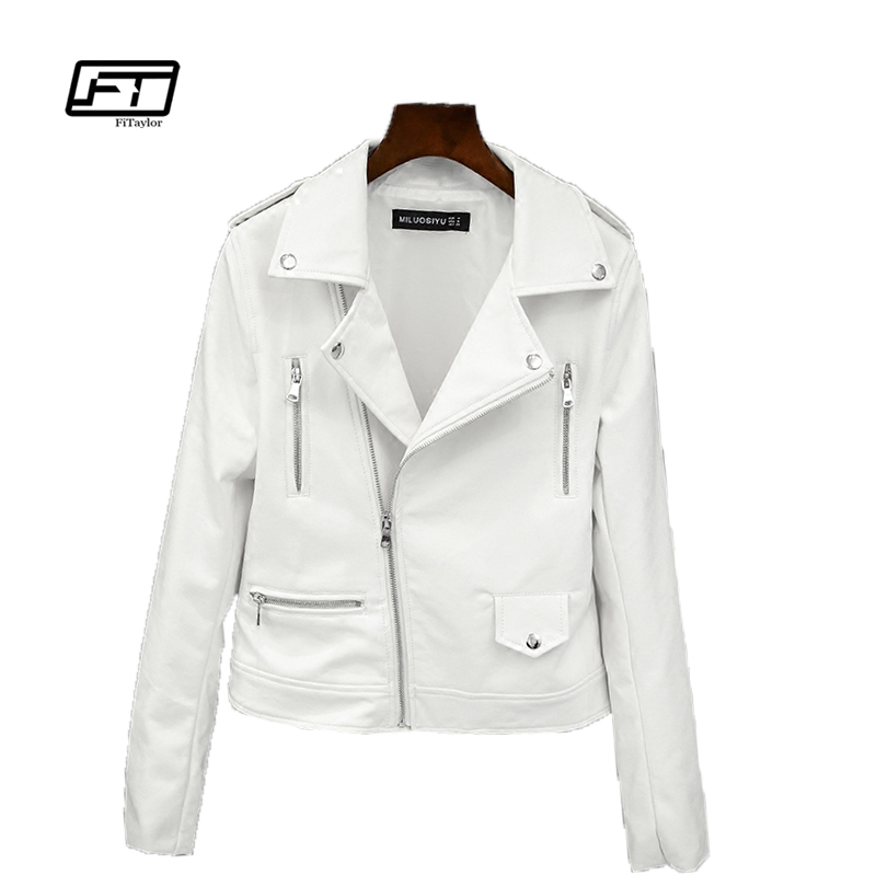Fitaylor 2019 New Spring Autumn Women Biker Läder Jacka Mjuk PU Punk Outwear Casual Motor Faux Leather White Jacket