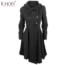 2017 Fashion Long Medieval Trench Woolen Coat Women Winter Black Stand Collar Gothic Overcoat Elegant Women Coat Vintage Female