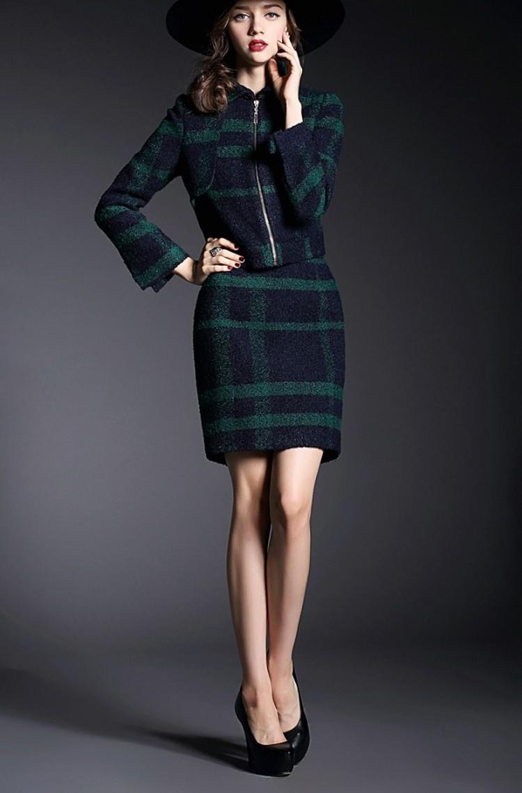 Runway Style High Grade Grid Pattern Woolen Green Skirt Suits Autumn Winter 2015 (15)