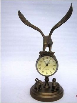 Exquisite Copper Eagle sculpture mechanical clock ornament crafts