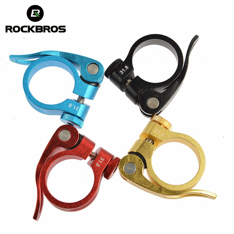 ROCKBROS Aluminum Ultralight Mountain Bicycle Seatposts <font><b>Clamp</b></font> Quick Release MTB <font><b>Bike</b></font> Seat Post <font><b>Clamp</b></font> 31.8mm 34.9mm Bicycle <font><b>Parts</b></font> image