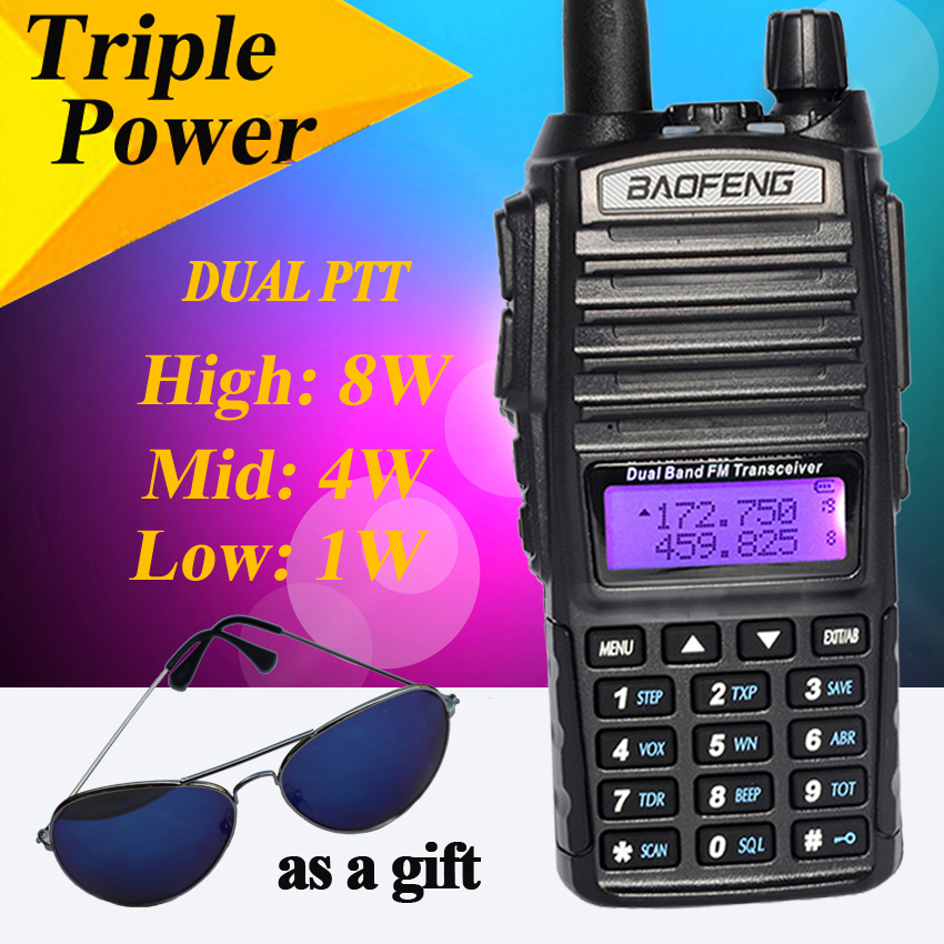 Baofeng 8 W UV-82HX Talkie Walkie Portable radios de comunicacio Double PTT pour Baofeng UV-82 Plus Jambon Radio Amateur De Poche Radi