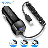 Cargador de coche RAXFLY Universal USB para iPhone carga rápida 12-24 V/2.4A carga para el teléfono Cargador Micro USB tipo C para iPhone