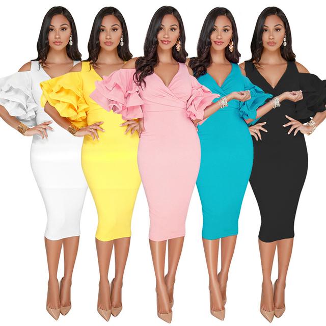 2018 New Women Sexy Summer V Neck Ruffles Sleeve High Waist Off The Shoulder Slim Pencil Split Dress