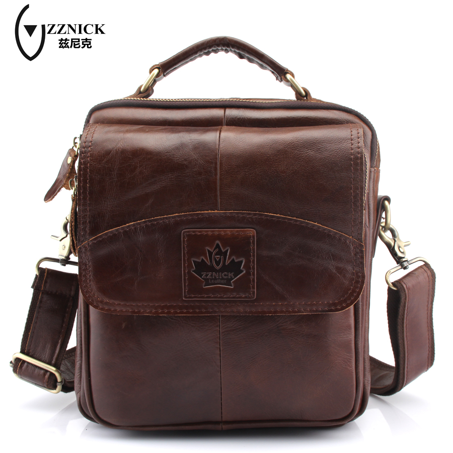 ZZNICK Genuine Leather bag Men leather Bags Messenger Bag laptop Male Man Casual tote Shoulder Crossbody bags Handbags ZK6801 zznick 2017 genuine leather bag men crossbody bags fashion men s messenger leather shoulder bags handbags small travel male bag