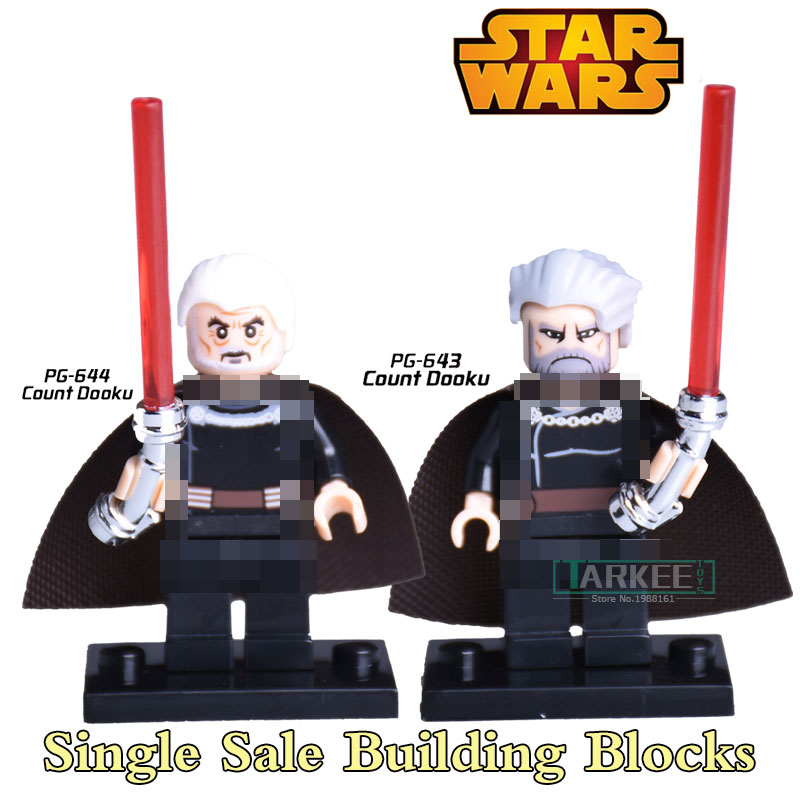 1PC Star Wars Count Dooku With Red Lightsaber Children Classic Models Bricks Clone War Assemble Building Blocks Kids DIY Toys costume party star wars light saber blue and red starwar telescopic lightsaber cosplay 33 7 interactive sword model kids toys