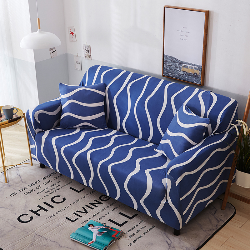 Cheap Blue Spandex Sofa Covers For Living Room 1 2 3 4 Seat White Stripe Universal Stretch Futon Cover Full Couch Slipcover In From Home