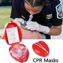 Máscara de primeiros socorros cpr, máscara de respiração artificial reutilizável com ferramentas de válvula única
