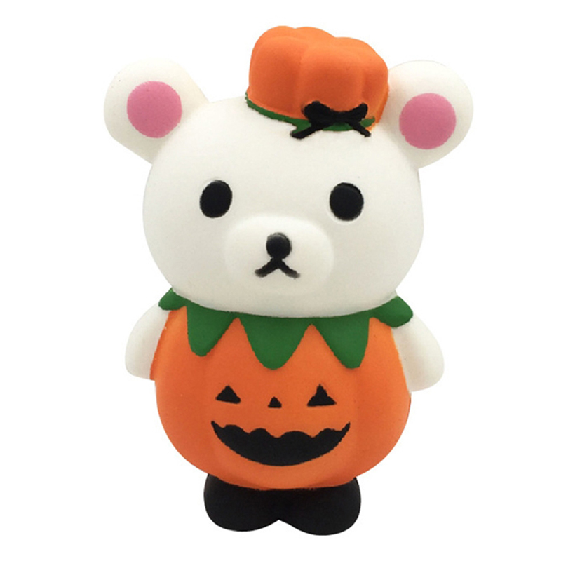 New Cute Pumpkin Bear Squishy Animal Doll Slow Rising Squeeze Toy Bread Scented Stress Relief For Kid Party Gift