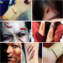 10PCS Halloween Zombie Scars Tattoos Fake Scab Bloody Scars Stitches Special Costume Tattoos Makeup Sticker Halloween Decoration
