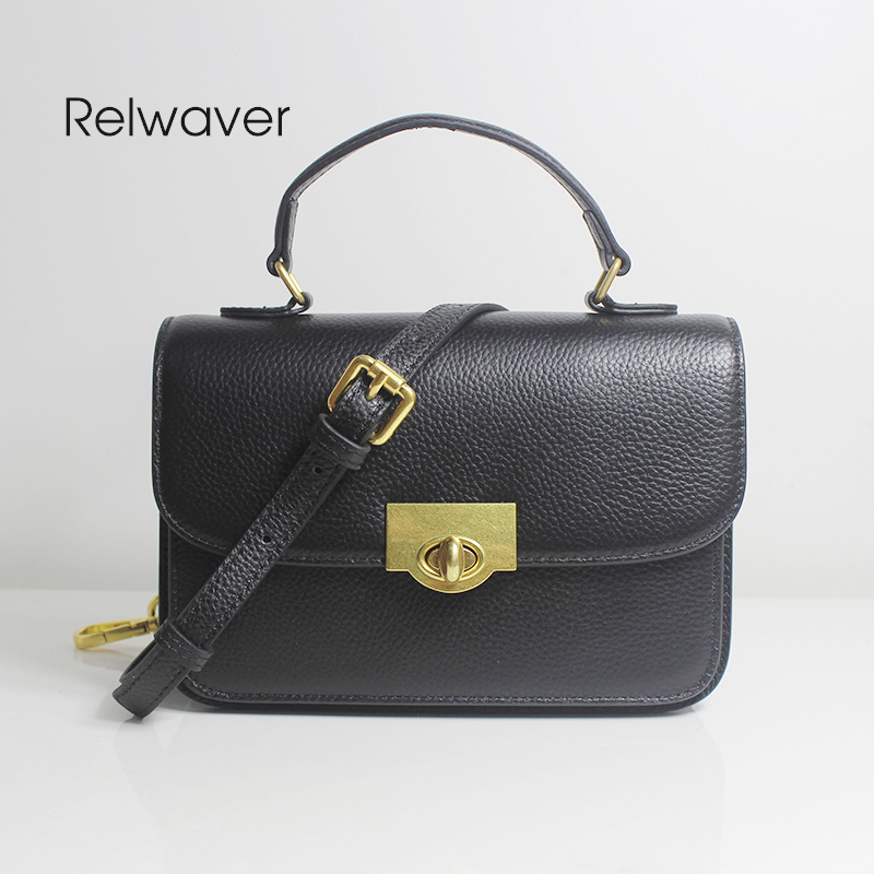 Real leather messenger bag fashion chic flap small black rotating lock cover accordion chic stylish party women crossbody bagReal leather messenger bag fashion chic flap small black rotating lock cover accordion chic stylish party women crossbody bag