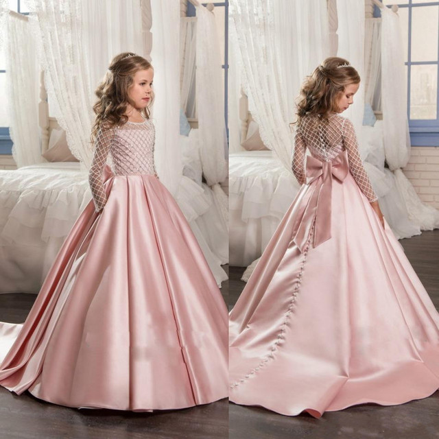 f35b14ec9ebeb New Pink Flower Girl Dress for Wedding Button Back Long Sleeves Satin  Little Girls Birthday Party Gown Christmas Dress 2-14Y