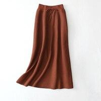 2017 Autumn Winter Thick Elastic A Line Skirt Women Casual Long Skirt Knitted Skirt
