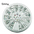 Rolabling Clear Beauty Glitter 600pcs/box Round Nail Designs Rhinestones for Nail Tips Nail Art Decoration Rhinestones