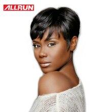 Allrun Machine עשה חזית שיער אדם פאות צבע טבעי ישר ברזילאי Non Remy שיער קצר בוב פאות חינם
