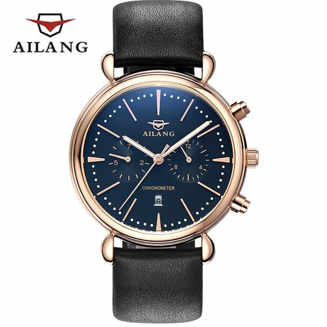 Mens AILANG Brand Fashion Casual Wristwatches Waterproof 50M Date Quartz Watch men Leather Strap Business Watches relojes hombre