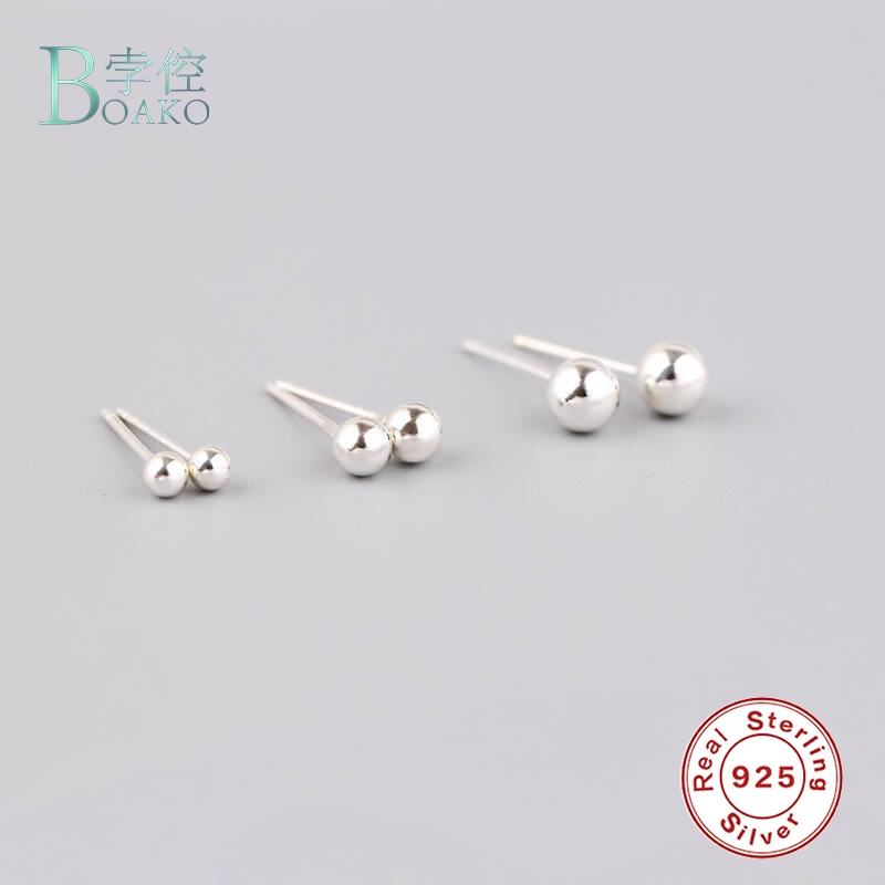 Rose Gold over 925 Silver High Polish Smooth Round Ball Stud Earring 4-Size Set