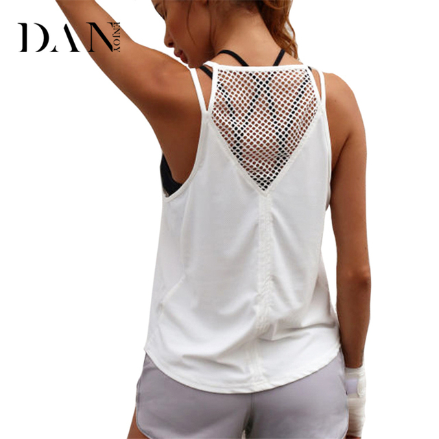 be6237ca58 DANENJOY Hollow Out Sports Shirts Solid Black White Workout Tank Top Soft  Women's Fitness Yoga Top Running Sexy Yoga Vest B-92