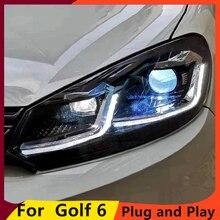 KOWELL VW 골프 6 헤드 라이트 용 스타일링 2010 2013 Golf6 mk6 LED 헤드 라이트 천사 눈 LED DRL Bi 크세논 렌즈 주차 안개 램프
