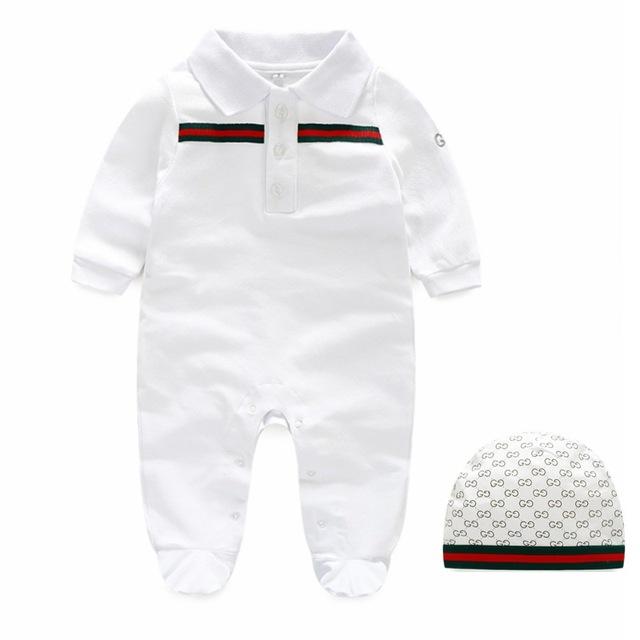 Nuevo de alta calidad de manga larga de los bebés de los mamelucos para los recién nacidos mono del bebé Vetement Garcon hat + de los mamelucos J0194