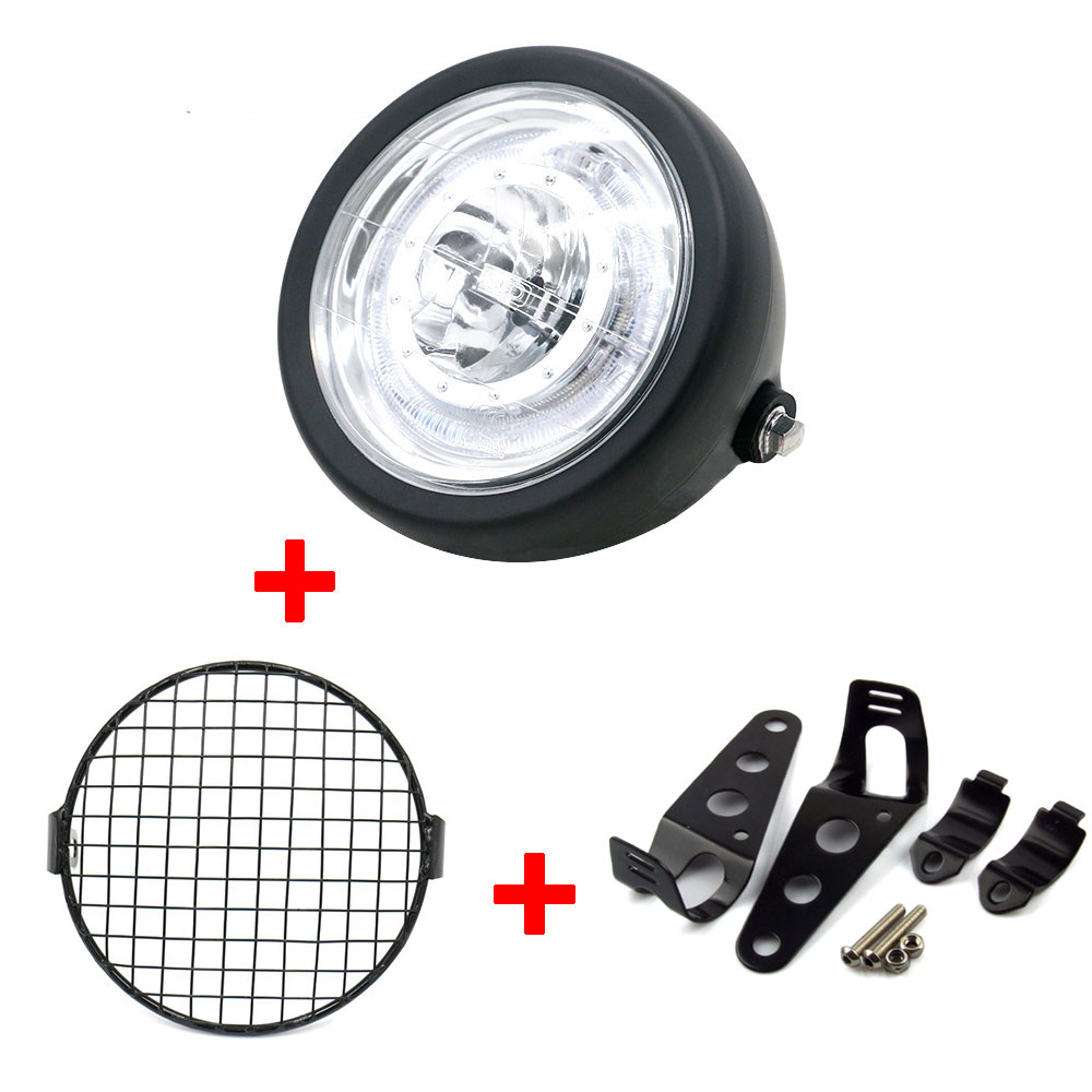 Automobiles & Motorcycles Analytical Bbq@fuka High/low Beam Motorcycle Led Headlight Headlamp Led With Brackets Led Angle Eye Grill Side Mount Cover Bracket 6.5 Easy To Lubricate