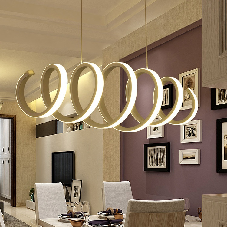 Creative Spiral LED Chandelier Aluminum Acrylic Home Dining Bedroom & Office & Commercial Lighting Ceiling lights 110-240V image