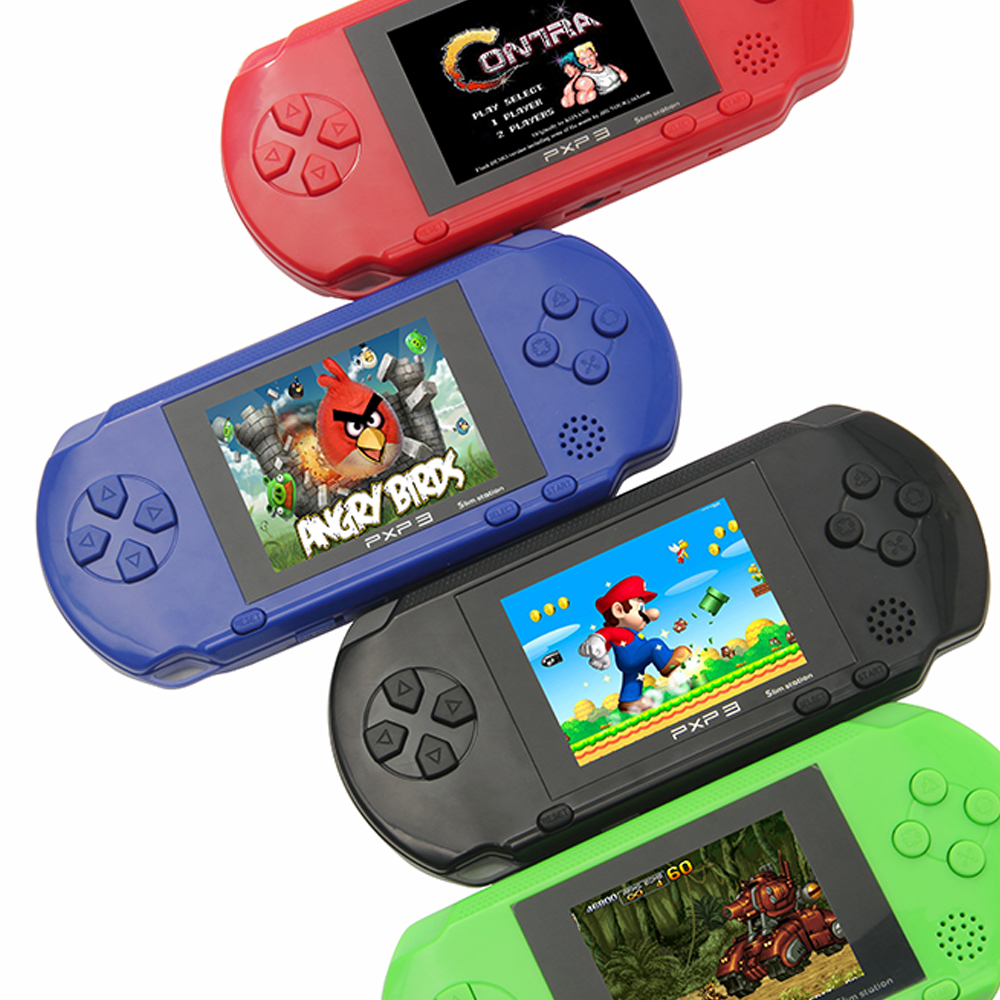 3'' Portable 16 Bit Retro PXP3 Slim Station Video Games Player Handheld Game Console 2pcs Game Card Built-in 150 Classic Games