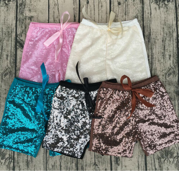 Baby Sequins Shorts Elastic Booty Short With Bow High Waist Clubwear Dance Silver Black Gold Red DS Hip Hop Jazz Sparke Shorts