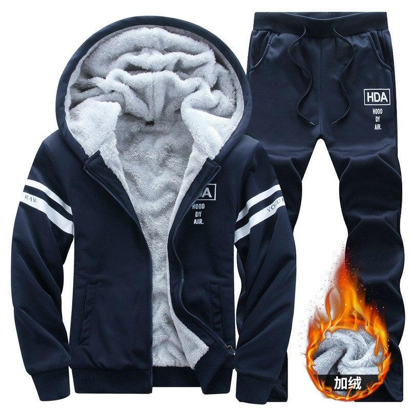 2018 Tracksuit Men Winter Plus Velvet Sporting Slim Fit Warm Thickened Sportswear Hooded Sweatsuit Two Piece Running Men Set