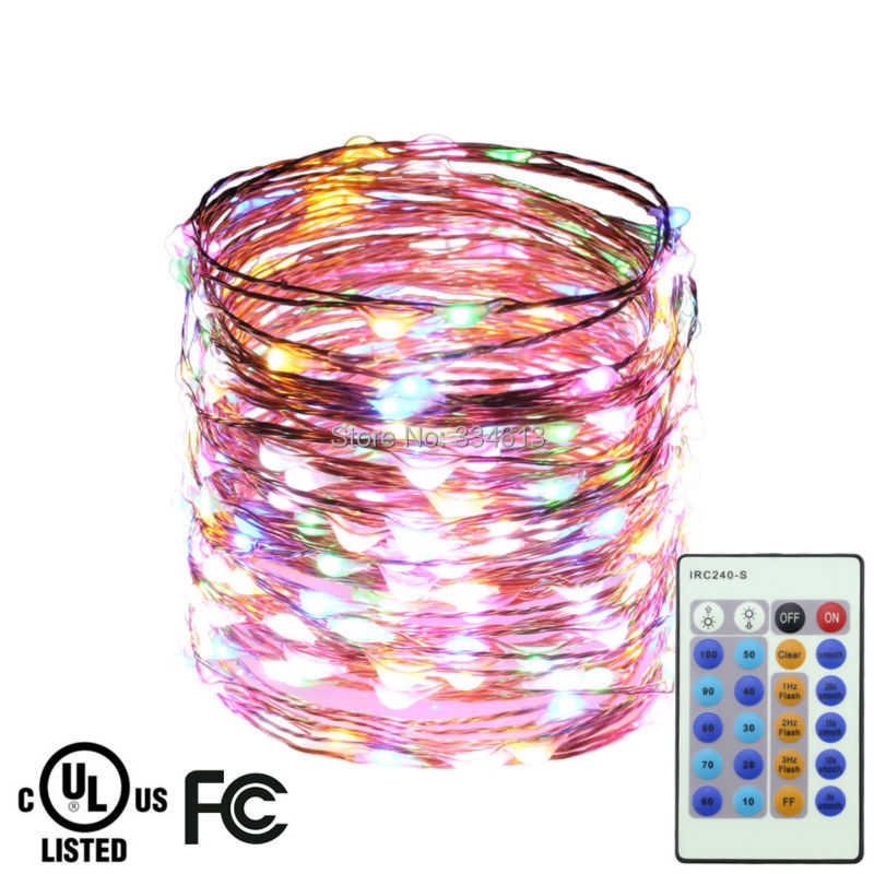 15M/49FT 300LEDs Copper Wire Warm White Remote LED String Lights Starry Lights Christmas ...