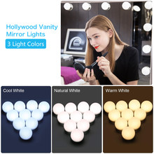10 LED bulbs mirror vanity light circle led hollywood style Touch USB 10 level 3 color Dimmable cosmetic lamp dressing makeup(China)