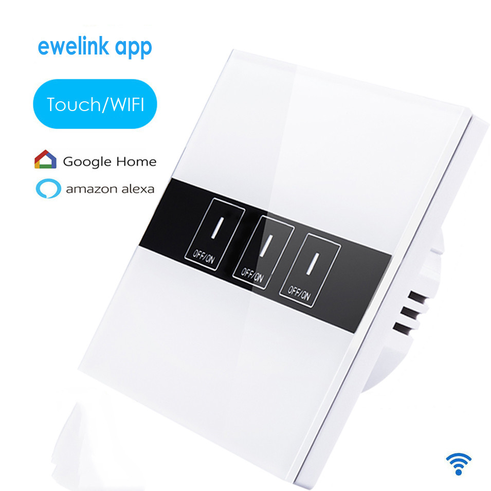 EU Type ewelink app 3 gang 1 way Wifi Control Switch,Wireless Control Light Touch Wall Switch, Smart Home Android IOS, Alexa ewelink us type 1 gang 1 way wall light switch touch control panel wifi remote control via smart phone work with alexa ewelink