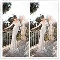 Vestido De Noiva New Lace Sheath Wedding Dresses Sheer V Neck Full Sleeve Lace Beads Long Sexy Wedding 2016 Spring Bridal Gown