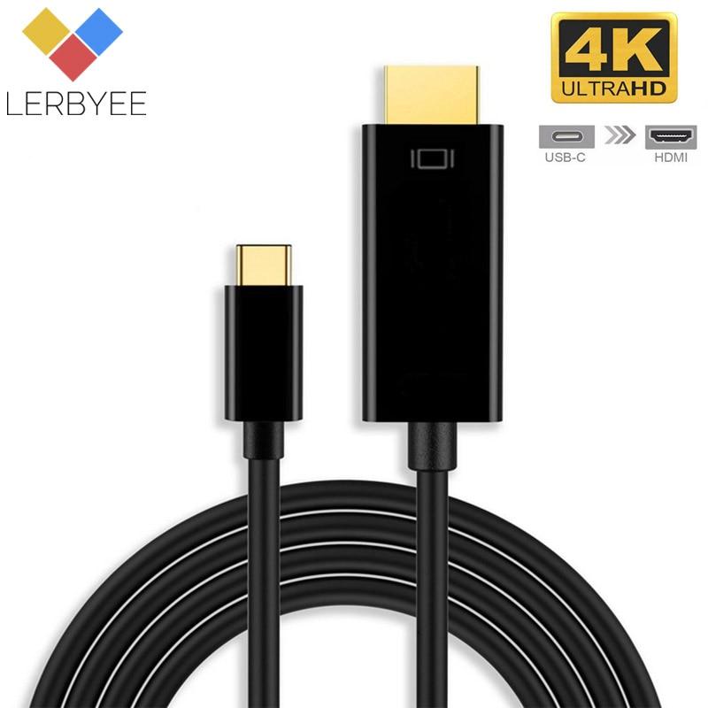 Lerbyee Тип usb C к HDMI адаптер 4 К * 2 К Кабель-адаптер HDTV Кабель-адаптер USB 3,1 Для huawei matebook 10 samsung Galaxy S8 плюс