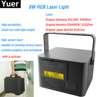 8W RGB Laser Light HighPower beam graphics animations Suitcase packing Semiconductor refrigeration DMX512 bar Disco stage light