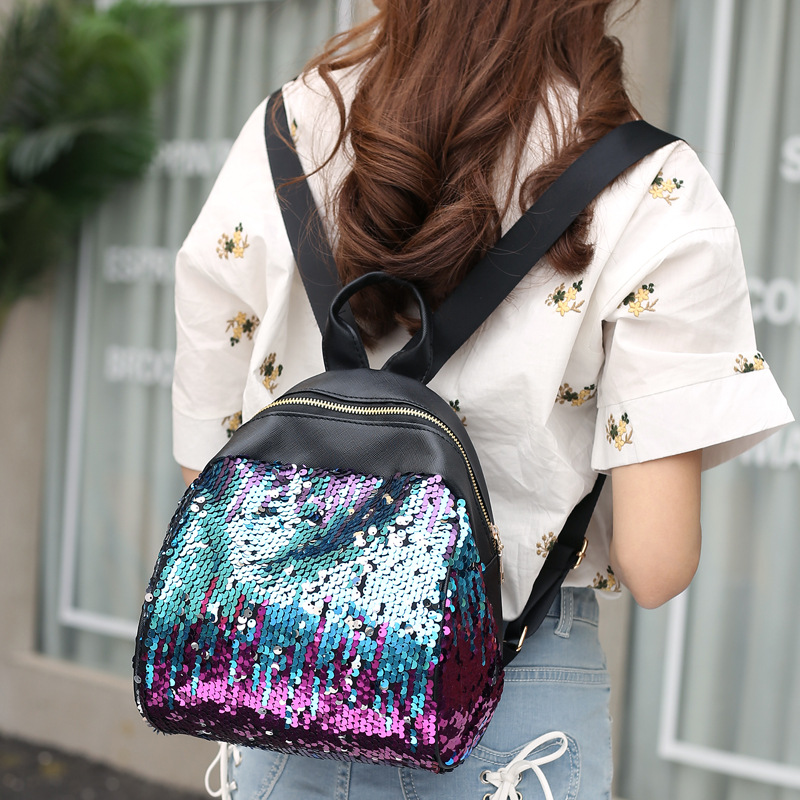 New Fashion accessories Backpack Sequins Leather Bags Zipped Casual Handbag Big Capacity Ladies School Shoulder Bags for girls
