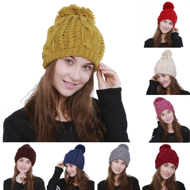 a465c11b4d0 Liva Girl Women Winter Pompom Hat Fashion Pattern 9 Crochet Knit Beanie Caps  Warm Blend Brand Knitted Stylish Hats For Girl