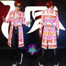 Hot NEW 2017 Men's Brand singer DJ GD English letter long suit coat Costume costumes clothing formal dress plus size Trench coat