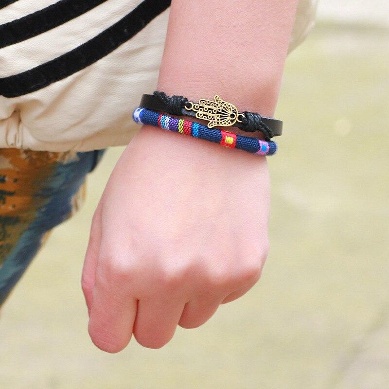 Er Vintage Fatima Hand Bracelet Leather Rope Woven Friendship Bracelets Women Charms Hamsa Jewelry Lb123 In Wrap From