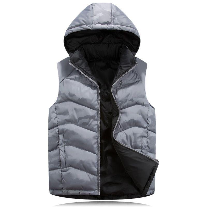 2017 Autumn Winter Extra Large Down Vest Men Hooded Cotton Down Waistcoat Plus Size 6xl 7xl 8x Sleeveless Thicken Coat 080204