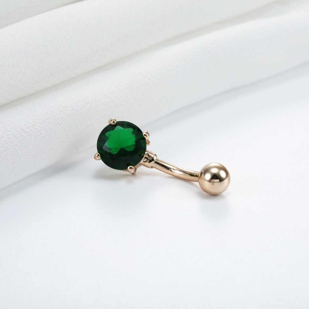 QIMING стальные бриллиантовые кольца для пупка, ювелирные изделия для пупка, серьги для пирсинга