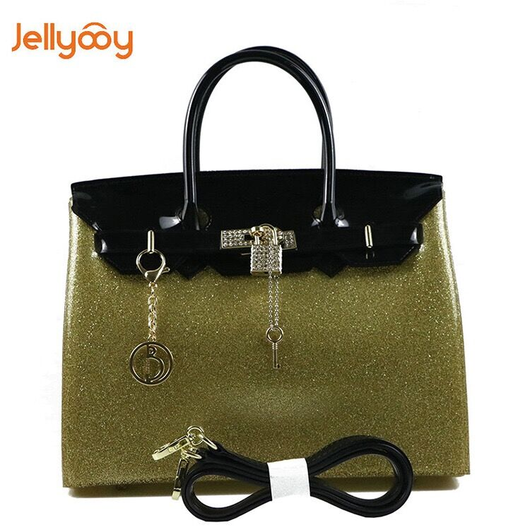 a3f495398e Jellyooy 30cm Large Size with Rhinestones Women Plastic PVC Jelly Handbag  Designer Candy Color Shoulder Bag